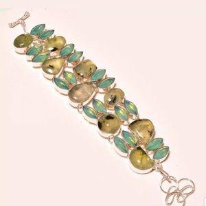 Prehnite Sterling silver bracelet
